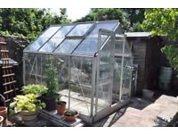 SOLD *** Aluminium Frame Greenhouse 8 ft 6 ins x 6 ft 4 ins with Sliding Door *** SOLD