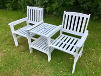 Wooden Garden Companion Seat With Sharing Table *** £69 ***