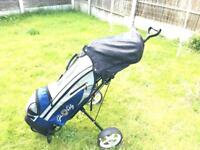 Golf Clubs, Trolley, Covers, Balls & Tees