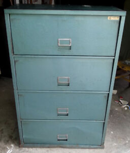 Vintage Steampunk Solid Metal Lawyers Cabinet Retro Green