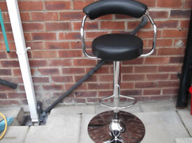 Unused Black Leather Bar Stool