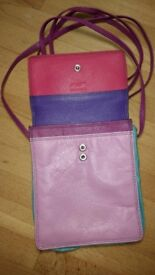 'Graffiti' real leather passport purse with long strap.