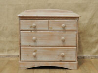 White stained pine wooden chest of drawers (Delivery)