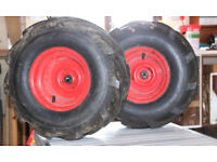 Pair of Chevron Tyres/Rims for Countax K18 lawn tractor - used