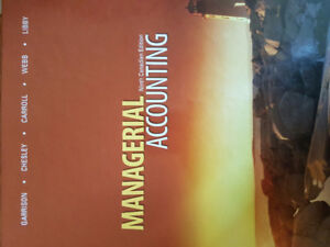 Managerial Accounting textbook for sale