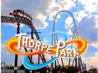2 x entrance tickets to Thorpe park theme park valid anyway day