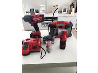 MILWAUKEE 1/2 NUT RUNNER IMPACT GUN, RADIO, TORCH, CHARGER, BAG AND BATTERIES