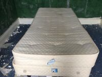 CREAM SINGLE BED INCLUDING MATTRESS