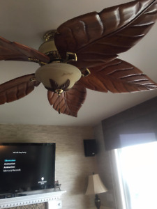 ceiling fan wooden leaf blades with light