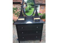 Ikea Hemnes Black 3 Drawer chest with mirror