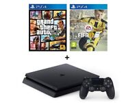 ps4 slim with fifa17,gta5 and two controllers