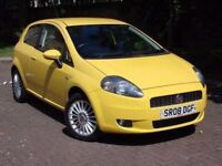 AA WARRANTY!! YELLOW 2008 FIAT GRANDE PUNTO 1.4 16v GP 5dr, 1 YEAR MOT, ONLY 45000 MILES, 1 OWNER