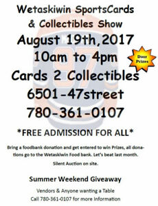 Free Admission Saturday Aug 19th Sports Card & Collectibles Show