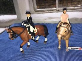2 Schleich Horses with Riders