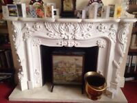 Reproduction Baroque Marble Mantelpiece and Plinth made in Italy (1,500 new)