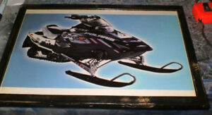 10 diff. Snowmobile pics & ads- mounted,ready to display