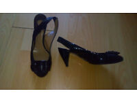 Chloe slingback kitten heels, black patent leather, size 39