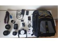 Camera DSLR Sony A330 + 18-55/3.5- 5.6 + 50mm 1.8 +backpack + 3 batteries + inverter lens + more