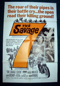 RARE 1968 SAVAGE 7 BIKER MOTORCYCLE GANG MOVIE POSTER
