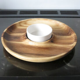 Wood & Ceramic Dip & Crudités Serving Platter - £2.50