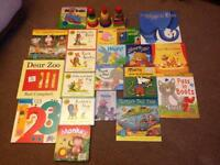 Selection of kids nighttime story books and wooden stack set