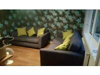 Blue three and two seater sofa