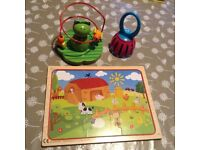 Puzzle, wooden toy and bell/rattle