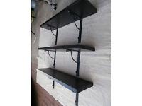 IKEA 'Ekby' shelves - three shelves in black with brackets