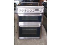 6 MONTHS WARRANTY Stainless Steel Hotpoint 60cm, double oven electric cooker FREE DELIVERY