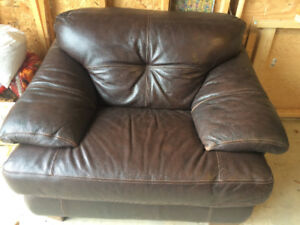 Quality leather couch and chair