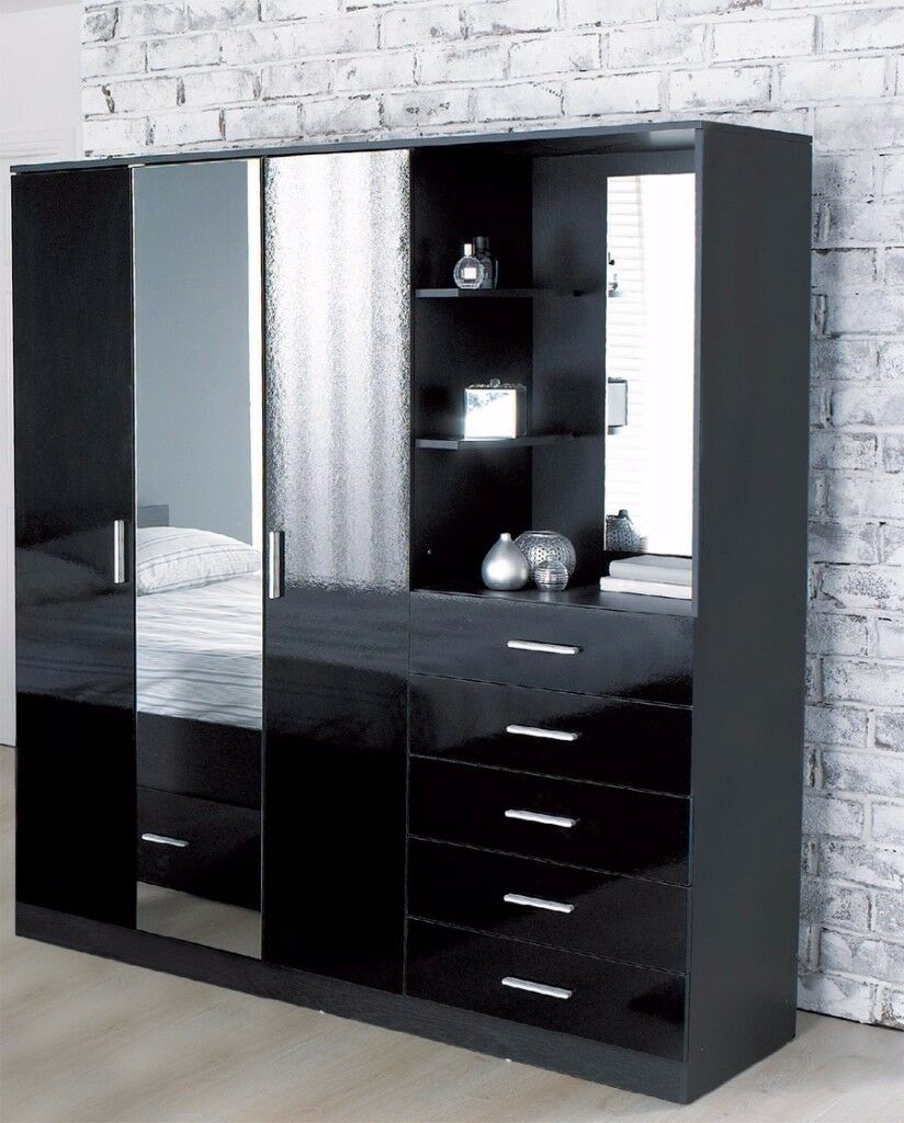 Brand New Carleton High Gloss Mirrored Combi Unit Black 3