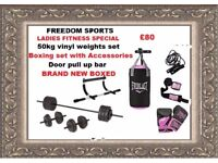50kg weights set, Womens boxing set with ACCESSORIES upper body door bar BRAND NEW BOXED REDUCED!!
