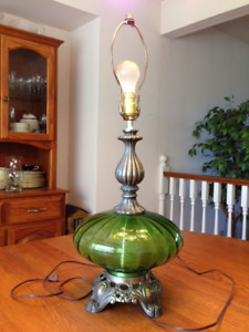 Vintage Green Glass Table Lamp with Clawfoot Base