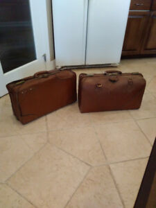 Two Antique Travel Bag Suitcases