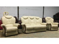 3+1+1 Pagnini Verona Italian leather sofas, suite, couch DELIVERY AVAILABLE