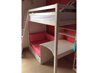Children's high up / bunk bed with sofa, desk and pull out guest bed