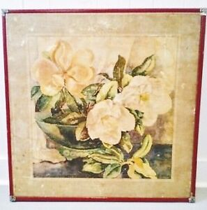RARE Folding Card Table BOTANICAL Floral ART Antique Vintage