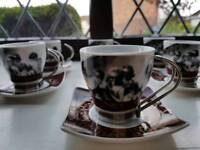 Espresso set, set of six cups and saucers