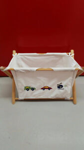 New Boys Cotton Canvas Wood Laundry Hamper or Toy & Book Storage