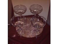 4 original retro babycham glasses
