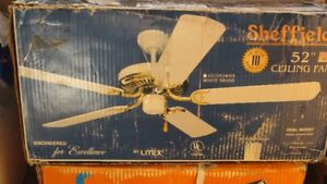 """52"""" WHITE AND BRASS SHEFFIELD DUAL MOUNT CEILING FAN - NO LIGHT"""