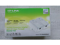 TP LINK POWERLINE HOMEPLUGS TL-PA4010PKIT WITH PASSTHROUGH