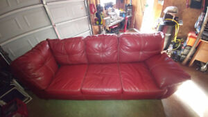 RED LEATHER COUCH FOR SALE