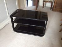 Black glass John Lewis TV table/stand