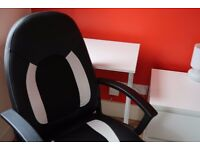 Comfortable PU Leather Office Chair BLACK&WHITE