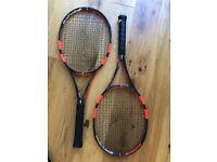 Babolat Pure Strike 18/20 Tennis Rackets x 2. Grip 2