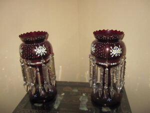 Victorian Ruby Crystal Lusters-Matched Pair--MINT CONDITION