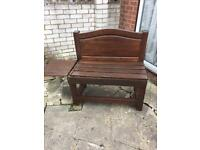 2 two seater garden benches with table