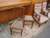 PAIR OF BEDROOM / DRESSING ROOM TYPE CHAIRS EDWARDIAN INLAID IN YEOVIL