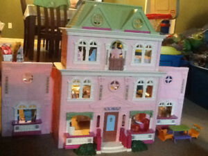 Fisher Price Loving Family Doll House & Cabin with furniture.